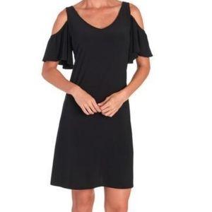 MSK cold shoulder black dress